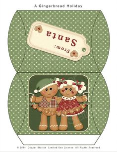 ***With gingerbread garland Easy Christmas Crafts, Christmas Gift Box, Noel Christmas, Christmas Printables, Handmade Christmas, Christmas Ideas, Christmas Cards, Miniature Crafts, Miniature Christmas