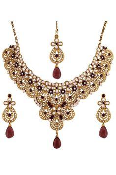 Purple Gold Plated Austrian Diamond Necklace Set
