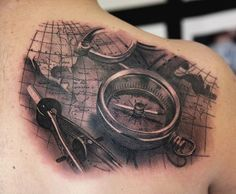 A wonderful collection of compass tattoo ideas that you will most definitely love. We will also be sharing with you the history and meaning of the compass tattoo design. Map Tattoos, Bild Tattoos, Body Art Tattoos, Sleeve Tattoos, Cool Tattoos, Tattoo Art, Compass And Map Tattoo, Nautical Compass Tattoo, Compass Tattoo Design