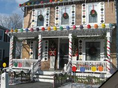 life size gingerbread house by dogboneart Gingerbread Christmas Decor, Candy Land Christmas, Outside Christmas Decorations, Christmas Lights Outside, Gingerbread Decorations, Christmas Holidays, Christmas Crafts, Gingerbread Houses, Christmas Ideas