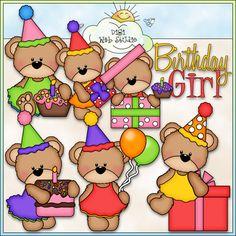 Birthday Girl Bears 1 - NE Marjorie Ann Designs Clip Art : Digi Web Studio, Clip Art, Printable Crafts & Digital Scrapbooking!