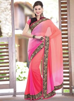Lovely Pink Shade Pure Georgette Saree | Item Code: 2232