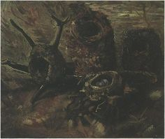 Painting, Oil on Canvas Nuenen: late September-early October, 1885 and (doesn't match up): Septmeber - early October, 1886 - 87 Van Gogh Museum Amsterdam: Still Life with Birds' Nests Van Gogh Gallery Vincent Van Gogh, Van Gogh Museum, Van Gogh Still Life, Van Gogh Landscapes, Amsterdam, Arte Van Gogh, Background Drawing, Life Paint, Van Gogh Paintings
