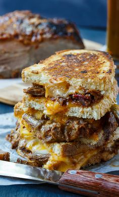 Brisket Grilled Cheese - with gooey melted cheddar and Monterey Jack cheese and pieces of tender slow-cooked brisket, this is a delicious, drool-worthy sandwich. It's a stick-to-your-ribs kind of meal.