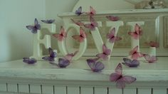 4 Shabby Chic 3d Home / Wedding Flying Butterfly Wall Art / Accessories various colours by MyButterflyLove on Etsy