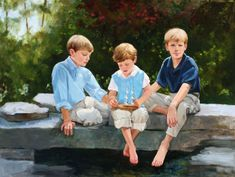 The Rock Pond Boys, oil, 36 x 48 Commissioned oil portrait, child portrait, boy portrait, family portrait, group portrait