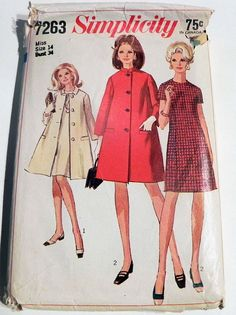 1960s Tent Coat Jacket Stand collar lined a line princess seam