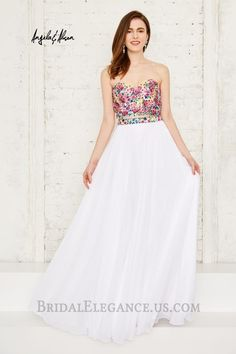 Angela & Alison 71083 is a TWO PIECE LONG DRESS: Strapless and sweetheart neckline. Colorful floral embroidery on top and waist of skirt. Side-by-side keyholes on back. Two Piece Long Dress, Floral Two Piece, Evening Dresses, Prom Dresses, Formal Dresses, Sweetheart Dress, Couture Dresses, A Line Skirts, Strapless Dress Formal
