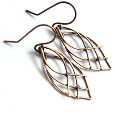 Celtic Leaf Earrings Antiqued Copper Wire Wrapped Elven Elvish Celtic... ($18) ❤ liked on Polyvore featuring jewelry, earrings, celtic jewelry, handcrafted earrings, tear drop earrings, leaves earrings and celtic earrings
