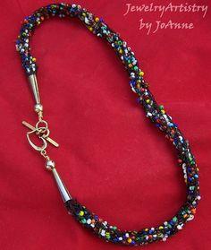 Black Knit Necklace  Handmade with Rainbow by JewelryArtistry, $44.98