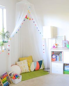 If you've been searching for some inspo to create the perfect reading nook for your child (and you), we've got you covered! kids playroom ideas Create the perfect reading nook for your child with 6 simple steps Playroom Design, Kids Room Design, Playroom Ideas, Playroom Decor, Bedroom Decor Kids, Room Decor For Girls, Living Room Playroom, Playroom Flooring, Kids Decor