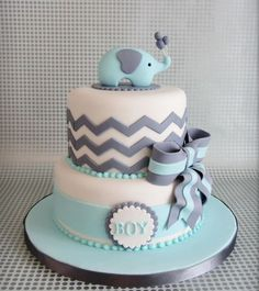 Chevron Baby Elephant Baby Shower Cake, Blue and Grey Baby Shower Cake, Two Tiered Fondant Cake Torta Baby Shower, Fiesta Baby Shower, Baby Boy Shower, Baby Shower Cakes For Boys, Boy Baby Showers, Baby Shower Invitations For Boys, Shower Party, Baby Shower Parties, Baby Shower Themes