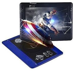 "DBPOWER 10.5"" Portable DVD Player, 3 Hours Rechargeable Battery, Swivel Screen, Supports SD Card and USB, Direct Play in Formats MP4/AVI/RMVB/MP3/JPEG (10.5"", Blue)"