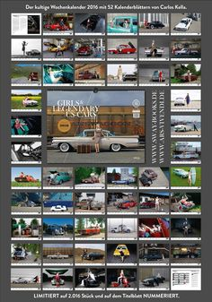 "Jetzt lieferbar - Now available! ""Girls & legendary US-Cars"" 2016 calendar by Carlos Kella / SWAY Books. Limited and numbered to 2016 pieces. 20 models and more than 30 US-Cars. www.sway-books.de (Germany) / www.ars-vivendi.de (other Countries)"