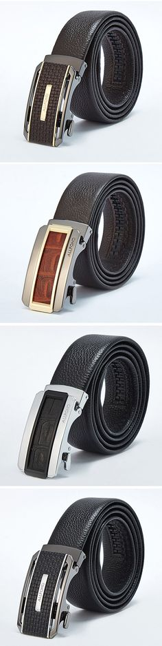 125CM Men Business Genuine Leather Belt Durable First Layer Leather Automatic Buckle Belt