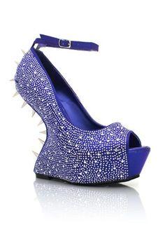 Blue Rhinestone PeepToe Heel less Mary Jane Wedge 90s Fashion, Fashion Outfits, Womens Fashion, Wedge Shoes, Shoes Heels, Mary Jane Wedges, Spike Heels, Platform High Heels, Crazy Shoes