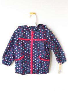 Cherokee Cute Girl's Blue Hooded Jacket W/Pink Polka Dots & Pink Ruffle New Nwt #Cherokee #Jacket #EverydayHoliday