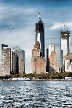 Downtown Manhattan from Staten Island ferry on a beautiful autumn afternoon   NYC