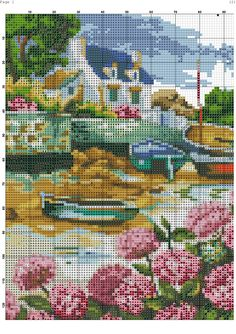 This Pin was discovered by Kat Cross Stitch House, Beaded Cross Stitch, Cross Stitch Embroidery, Free Cross Stitch Charts, Funny Cross Stitch Patterns, Cross Stitch Landscape, Cross Stitch Pictures, Yarn Thread, Cross Stitching