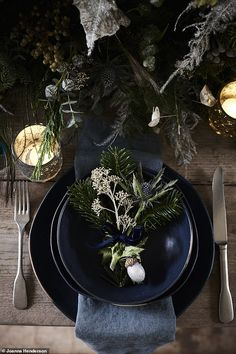 sprigs of pine and thistle tied with midnight blue velvet ribbon. deep blues mixed with organic greens. White Christmas Trees, Dark Christmas, Christmas Trends, Christmas Mantels, Victorian Christmas, Vintage Christmas Ornaments, Christmas Table Settings, Christmas Tablescapes, Christmas Centerpieces
