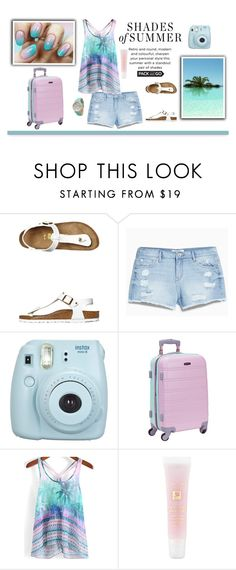 """""""Lazy Days Ahead!"""" by dashe-diva ❤ liked on Polyvore featuring Birkenstock, MANGO, Rockland Luggage, Lancôme, Olivia Pratt, Spring, WhatToWear, summershorts, Packandgo and summerbbq"""
