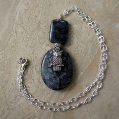 Black Labradorite Owl Necklace  Gemstone by peacefrogdesigns, $25.00 another Halloween cutie!