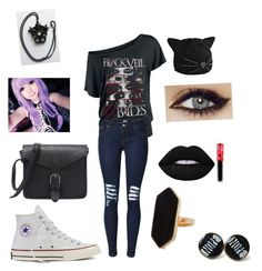 """black veil brides concert outfit"" by aubrey-corbett on Polyvore featuring beauty, Converse, Karl Lagerfeld, Lime Crime and Jaeger"