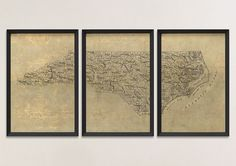 Old North Carolina Map Art Print 1893 Antique Map Archival Reproduction, Set of 3 Prints by BlueMonoclePrints on Etsy https://www.etsy.com/listing/209237422/old-north-carolina-map-art-print-1893