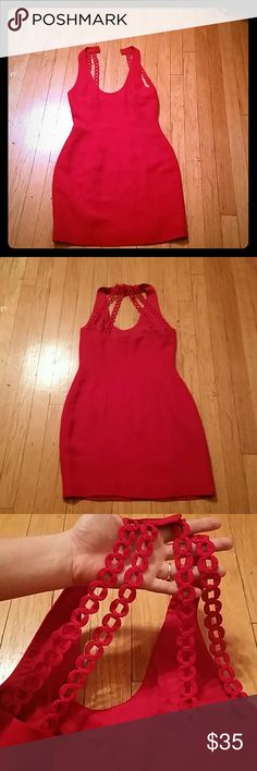 Nicole miller red dress size 6/8 Absolutely stunning nicole miller red dress, I really wish it fit me! Beautiful detail on the back Nicole Miller Dresses Mini