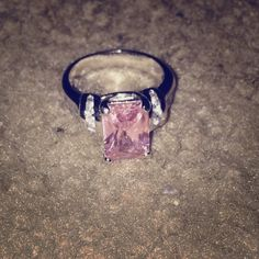 Pink crystal ring. Real silver. 925 stamped Pink crystal ring Jewelry Rings