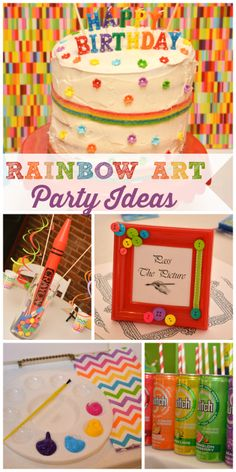 This fun girl birthday party is all about arts and crafts in rainbow colors!  See more party ideas at CatchMyParty!