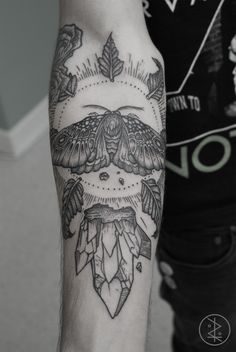 moth and crystal #arm #forearm #tattoos