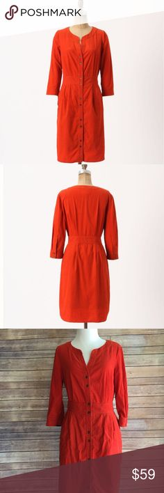 """Anthropologie Maeve Dress A fantastic fall dress. Cute burnt orange corduroy button up dress! Looks adorable with boots or flats! Length 36.5"""" from shoulder to hem. Flat bust measurement pit-to-pit 19"""". Flat waist measurement 14.5"""" Anthropologie Dresses"""