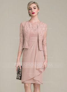 [US$ 102.49] Sheath/Column Scoop Neck Knee-Length Chiffon Lace Mother of the Bride Dress With Cascading Ruffles (008102705)