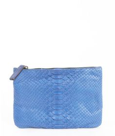 $96, Blue Leather Clutch: Abaco Rouge Leather Python Accent Zoe Zipper Clutch. Sold by Bluefly. Click for more info: https://lookastic.com/women/shop_items/149645/redirect