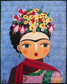 "Frida Kahlo Portrait with Fuschias and Lantanas NOW Available in prints as BIG as 32"" x 40"" !"