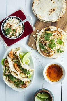 Shrimp and Elotes Tacos - Make it GF by using Udi's GF tortillas!