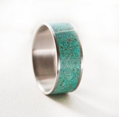 Mens Wedding Band Turquoise Ring by StagHeadDesigns on Etsy