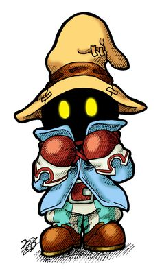 Vivi - Final Fantasy IX Final Fantasy Tattoo, Arte Final Fantasy, Final Fantasy Artwork, Chibi Characters, Video Game Characters, Happy Monster, Black Mage, Gaming Tattoo, Clay Dragon