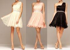 One shoulder, short and flowing dress