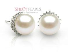 White Cultured Freshwater Pearl Earring , 9.0mm - 10.0mm , AA+, 3069-FWR96 | ShecyPearls Earring