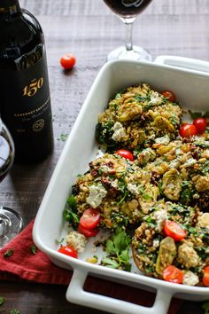 Hearty stuffed mushrooms make the perfect plant-based option for a date-night in or dinner party. Gluten free, oil-free option, and packed with protein. Try enjoying these portobellos with a dry red wine for a veg-based entree and wine pairing! Stuffed Mushroom Caps, Stuffed Mushrooms, Mushroom Quinoa, Tomato Vegetable, Kale Chips, Vegan Recipes, Vegan Food, How To Cook Quinoa, Portobello