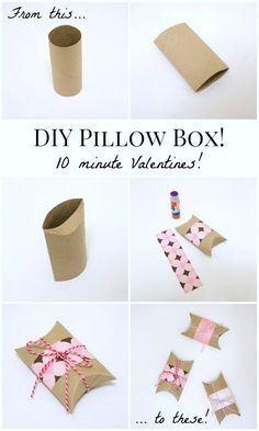 DIY Valentines Pillow Boxes: Turn an empty toilet paper tube into a Valentine pillow box in under ten minutes! ...