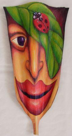 Lady Whisper  acrylic on palm frond                   by Anna Skaradzinska