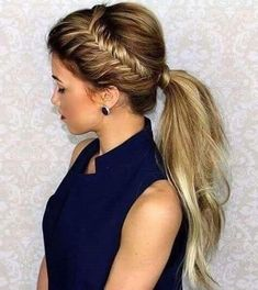 Fishtail braids and ponytail