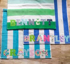 Personalized Beach Towel by Goat  Lulu on Etsy- perfect for the pool or the beach!