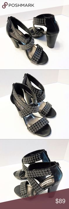Steve Madden studded strappy criscross block heels These studded strappy sandal criscross block heels from Steve Madden are to die for! Complete your date night look in envious fashion and make the night out on the town yours. Excellent used condition. Please see all photos and ask any questions before purchase. Size. 7M Steve Madden Shoes Sandals