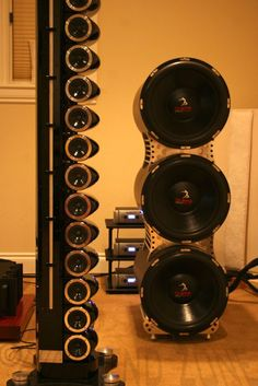 $70,000 Genesis 200 / 201 4-Tower Reference Speaker System in Redwood   Full range   Gila, New Mexico 88038   AudiogoN - The High-end Audio Community