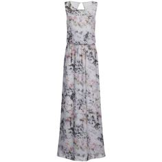 Little Mistress Grey Blurred Floral Maxi Dress ($119) ❤ liked on Polyvore featuring dresses, grey, flower print dress, gray maxi dress, floral pattern dress, reversible dress and henley maxi dress