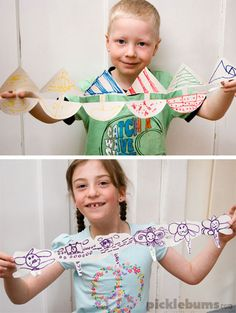 More than just paper dolls! How to make fun paper chain dolls plus 15 other ideas for simple paper cutout chains Paper Doll Chain, Paper Chains, Indoor Activities For Toddlers, Summer Activities, Easy Art For Kids, Crafts For Kids, Tree Monster, Kids Cuts, How To Make Paper